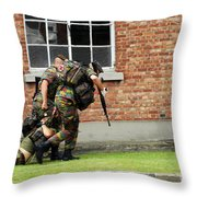 Soldiers Of The Belgian Army Helping Throw Pillow