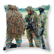 Soldiers Of The Special Forces Group Throw Pillow by Luc De Jaeger