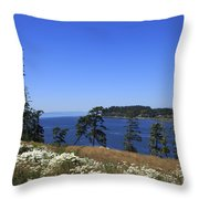 Sooke Harbour And The Strait Of Juan De Fuca Throw Pillow