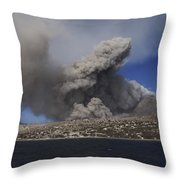 Soufriere Hills Eruption, Montserrat Throw Pillow