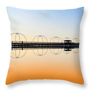 Southport Pier Reflections  Throw Pillow