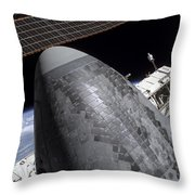 Space Shuttle Discovery Docked Throw Pillow