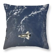 Space Shuttle Endeavour Backdropped Throw Pillow