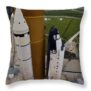 Space Shuttle Endeavour Lifts Throw Pillow