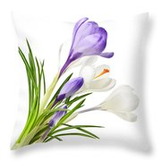 Spring Crocus Flowers Throw Pillow