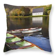 St. Finbarres Oratory And Rowing Boats Throw Pillow by Ken Welsh