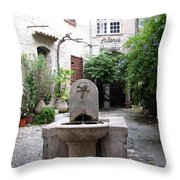 St. Paul De Vence Fountain Throw Pillow