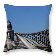 St Pauls Cathedral And The Millenium Bridge  Throw Pillow