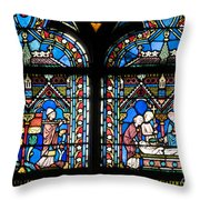 Stained Glass Window Of Notre Dame De Paris. France Throw Pillow