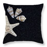 Starfish On Black Sand Throw Pillow by Joana Kruse