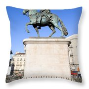 Statue Of King Charles IIi In Madrid Throw Pillow