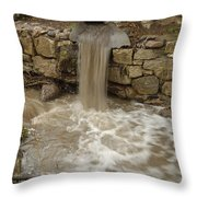 Storm Sewer Water Rushes Into A Stream Throw Pillow
