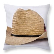 Straw Weave Cowboy Hat Throw Pillow