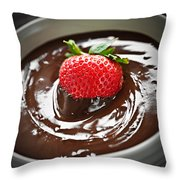Strawberry Dipped In Chocolate Throw Pillow