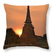 Stupa Chedi Of A Wat In Ayutthaya Thailand Throw Pillow