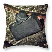 Suitcase And Hats Throw Pillow