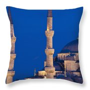 Sultanahmet Or Blue Mosque At Dusk Throw Pillow