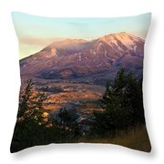 Sun Going Down At Mt. St. Helens Throw Pillow