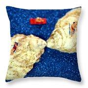 Sunbather On Oyster Shells Throw Pillow