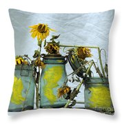 Sunflowers .helianthus Annuus Throw Pillow by Bernard Jaubert
