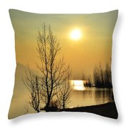 Sunlight Over A Lake Throw Pillow