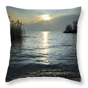 Sunset Over An Alpine Lake Throw Pillow
