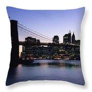 Sunset Over Lower Manhattan Throw Pillow