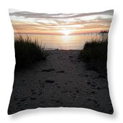 Sunset Through The Grass Cape Charles Virginia Throw Pillow