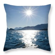 Sunshine Over An Alpine Lake Throw Pillow