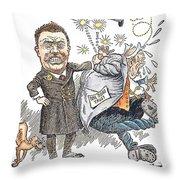 T. Roosevelt Cartoon Throw Pillow by Granger