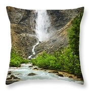 Takakkaw Falls Waterfall In Yoho National Park Canada Throw Pillow