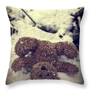 Teddy In Snow Throw Pillow