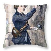 Telegraph Messenger, 1869 Throw Pillow