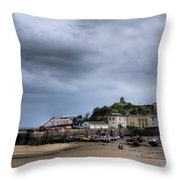 Tenby Harbour From North Beach 2 Throw Pillow