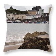 Tenby Harbour From North Beach Throw Pillow