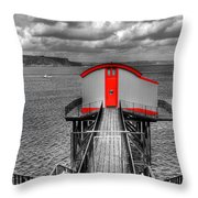 Tenby Lifeboat House Colour Pop Throw Pillow
