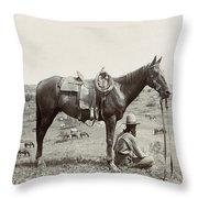 Texas: Cowboy, C1910 Throw Pillow