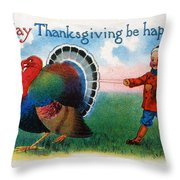 Thanksgiving Card, 1900 Throw Pillow