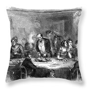 Thanksgiving Dinner, 1850 Throw Pillow