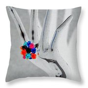 The Black Hand In Negative Throw Pillow