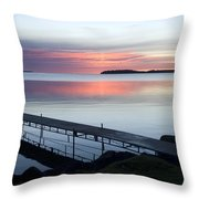 The Dock At Traders Bay Lodge On Leech Throw Pillow