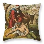 The Good Samaritan Throw Pillow by English School
