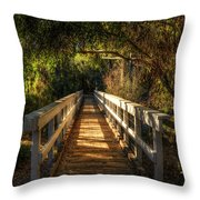 The Little White Bridge II  Throw Pillow