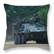 The Pandur Recce Vehicle In Use Throw Pillow
