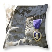 The Purple Heart Award Hangs Throw Pillow