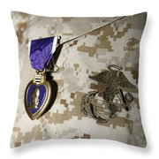The Purple Heart Award Throw Pillow by Stocktrek Images