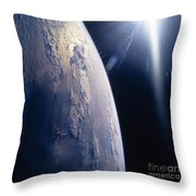 The Sun Shining On Planet Earth Throw Pillow