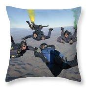 The U.s. Navy Parachute Demonstration Throw Pillow