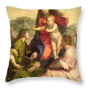 The Virgin And Child With A Saint And An Angel Throw Pillow by Andrea del Sarto