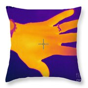 Thermogram Of A Hand Throw Pillow by Ted Kinsman